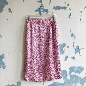 Valentino Boutique Pink Silk Watercolor Wrap Skirt